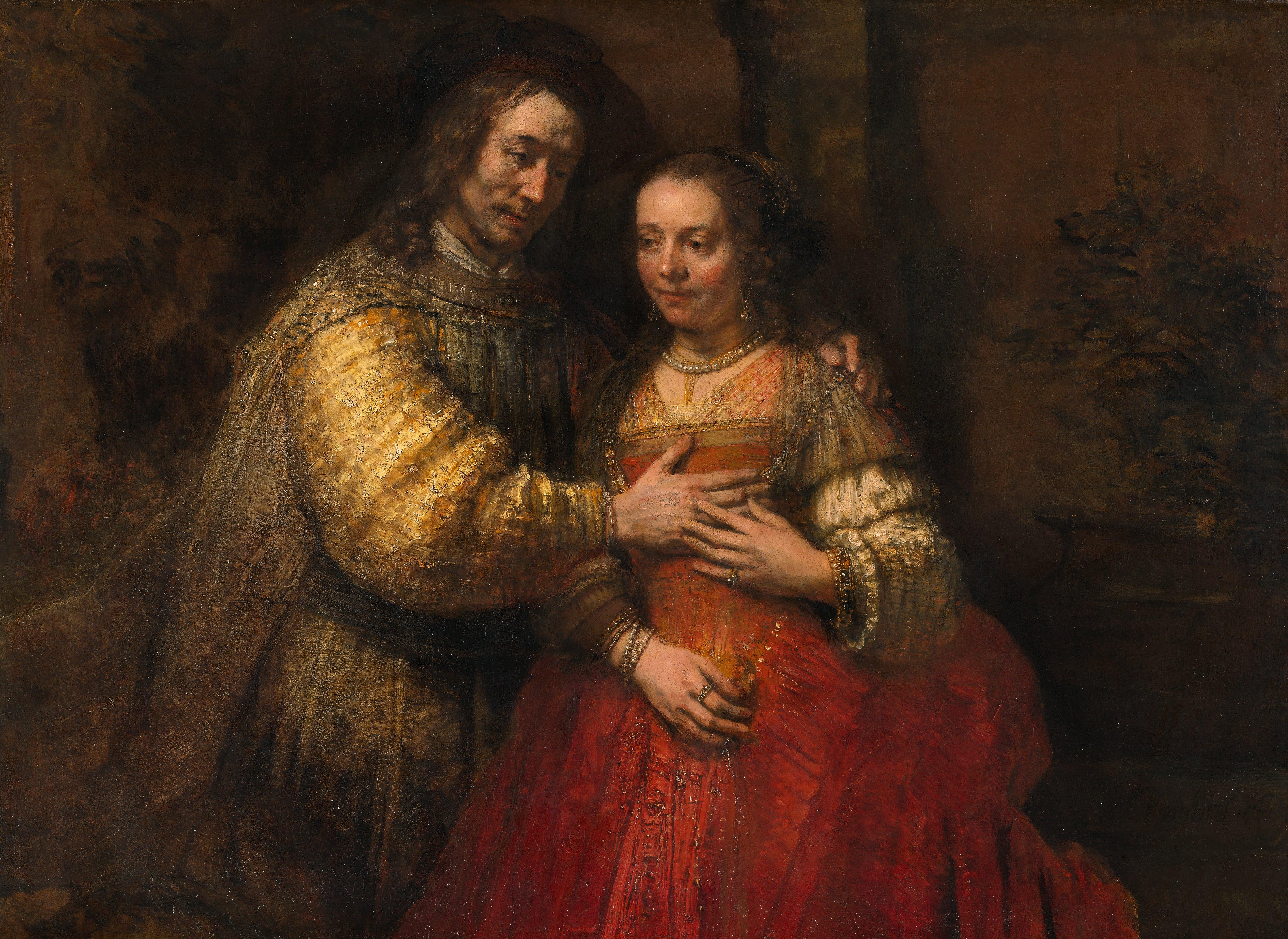 Regards à l'oeuvre: Rembrandt_Harmensz._van_Rijn_-_Portret_van_een_paar_als_oudtestamentische_figuren,_genaamd_'Het_Joodse_bruidje'_-1666, Amsterdam, Rijksmuseum, _Google_Art_Project.jpg